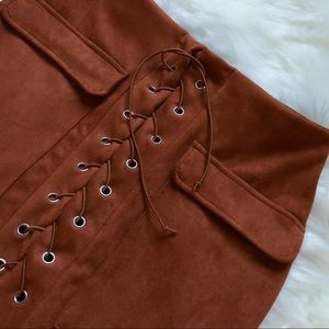 Rust Faux Suede Lace Up Skirt